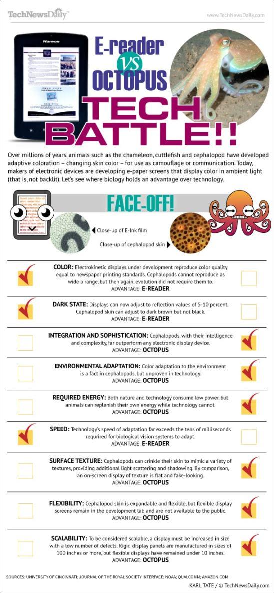 eReader vs Octopus Tech Battle!! (Infographic) Infographic