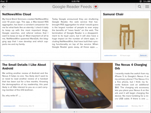 Zite Launches Bid for Google Reader Crown e-Reading Software News Reader