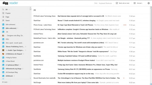 Digg Adds New Features - Still Isn't Up to Snuff as a Google Reader Replacement News Reader