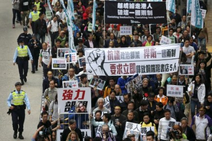 Thousands Protest in Hong Kong over Missing Publishers; Booksellers Worried Bookstore Censorship