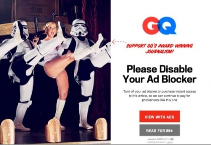 GQ Goes After Ad-Block Users, Demands They Pay For Each Article Advertising Web Publishing