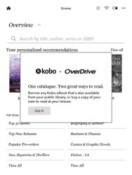 Kobo Firmware v4.0.7523 Adds Library eBooks to the Aura One (Screenshots) e-Reading Hardware Kobo Library eBooks Overdrive