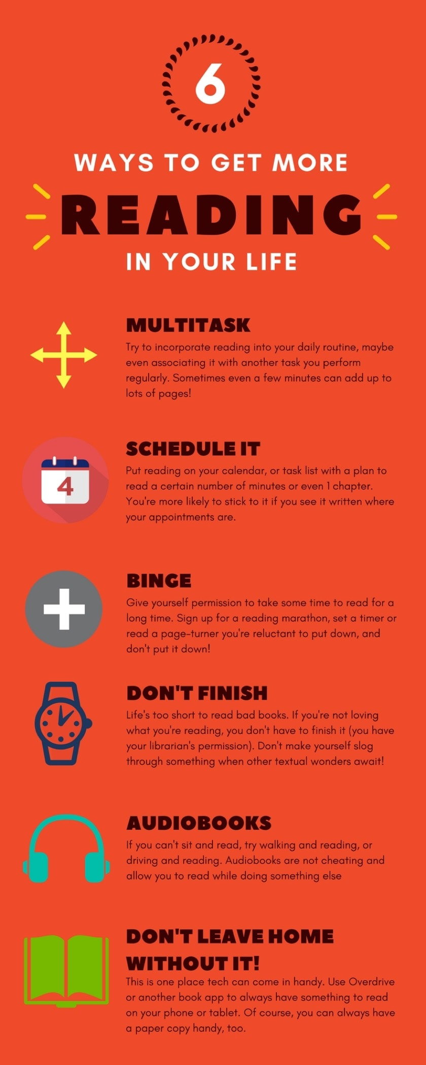 Infographic: Six Tried and True Ways to Get More Reading in Your Life Infographic