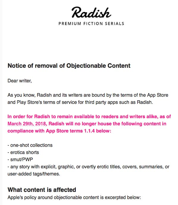 Radish Bans Erotica from Its Serial Fiction App e-Reading Software