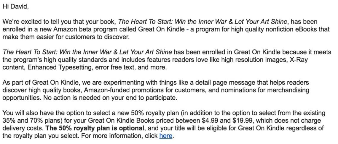 "Amazon's New ""Great on Kindle"" Program Offers 50% Royalty to Non-Fiction Titles Kindle (platform)"