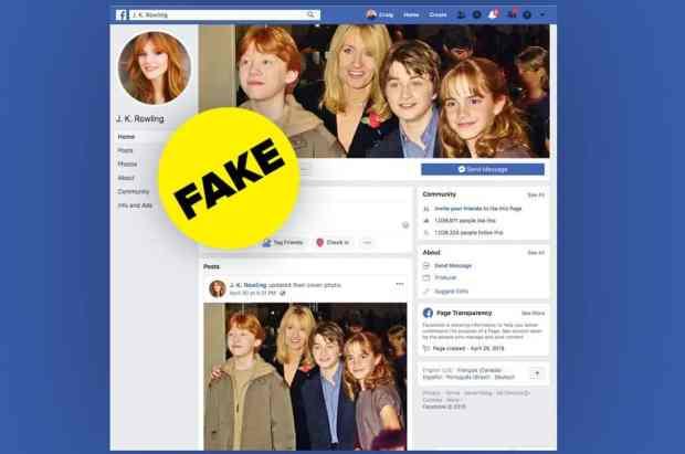 JK Rowling Facebook Fan Page Stolen - From Facebook Social Media