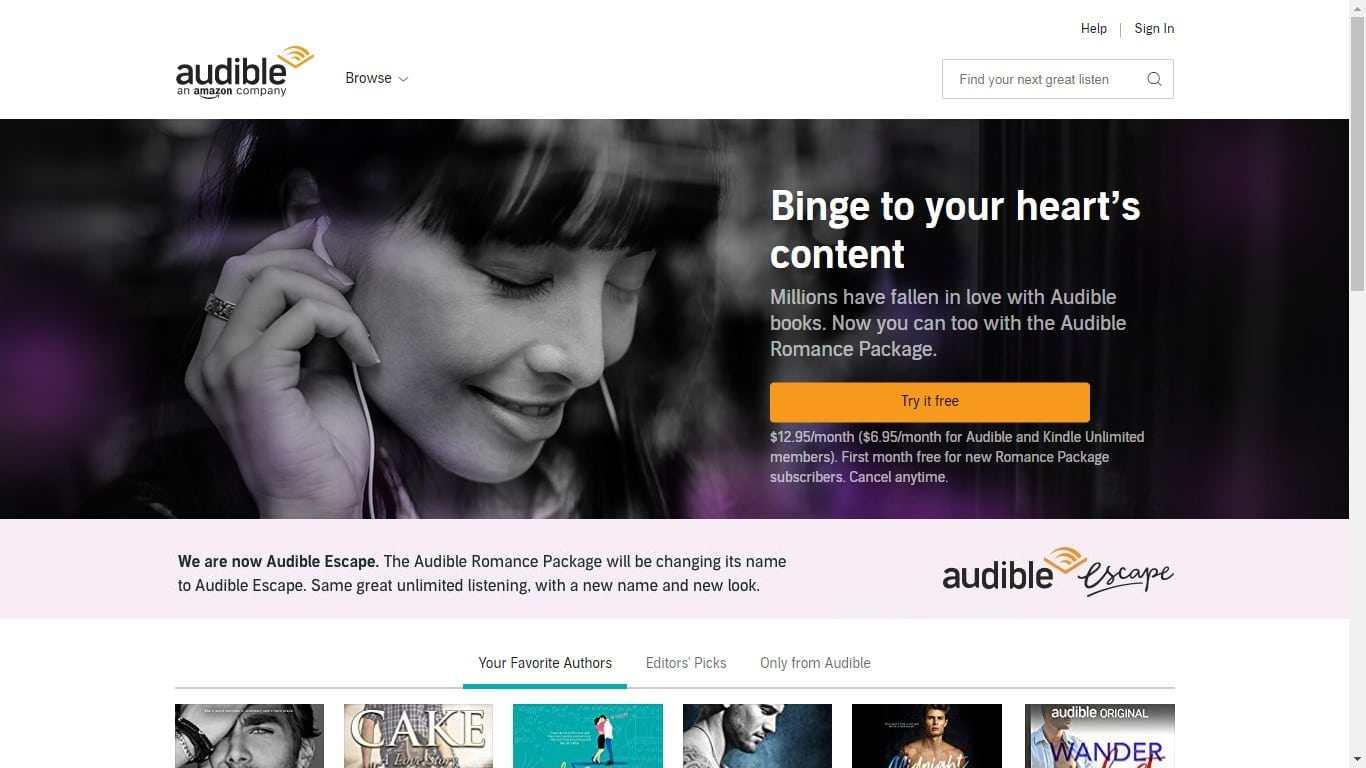 "Audible Account Sharing audible renames audible romance package as ""audible escape"