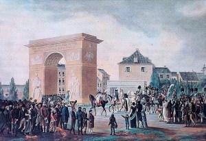 Einzug Napoleons in Düsseldorf am 2. November 1811 - Kolorierte Lithographie von Johann Petersen
