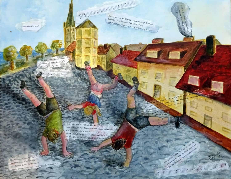 Illustration zum Radschläjerleed (gemalt von Ellen Kreft-Mänz)