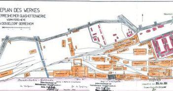 Lageplan der Glashütte von 1951 (Abb.: Rheinische Industriekultur)