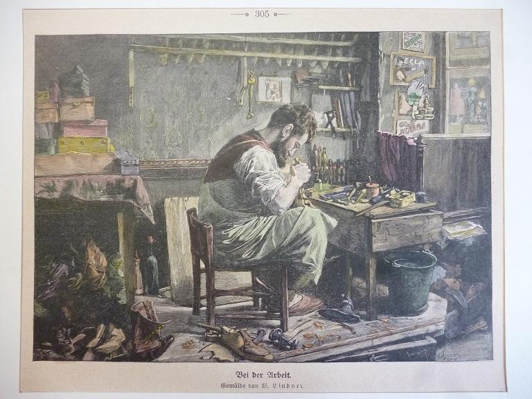 Schuster bei der Arbeit (nach einem Gemälde von W. Lindner)