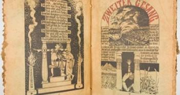 """Doppelseite aus """"Die Plagen. 3te aegyptischen Humoreske. Aufgeschrieben und abgemalt bei dem Auszuge der Juden aus Aegypten."""" von Carl Maria Seyppel"""