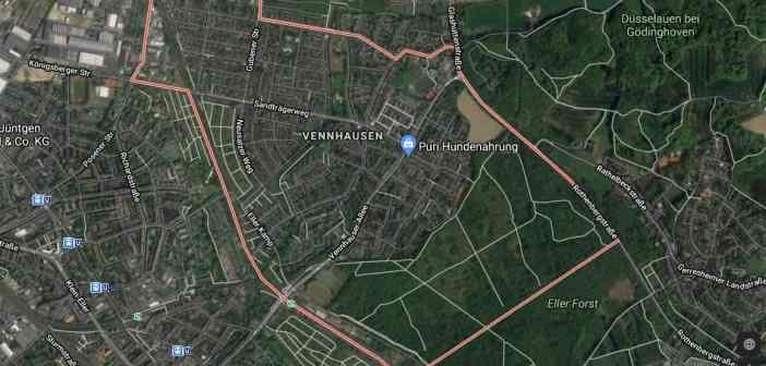Google-Map: Vennhausen - zwischen Eller Forst, Gerresheim, Lierenfeld und Flingern