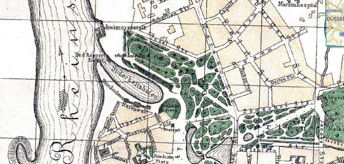 Lage des Sicherheitshafens auf einem Stadtplan von 1878 (Quelle: maps.duesseldorf.de)