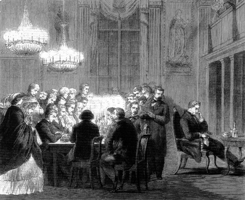 Blindsimultan-Partie mit Großmeister Louis Paulsen beim Düsseldorfer Schachverein von 1854 (Bild: dsv1954.de)