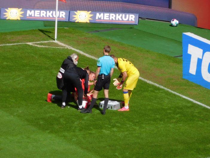 F95 vs Aue: Felix Klaus verletzt - konnte aber weitermachen (Foto: TD)