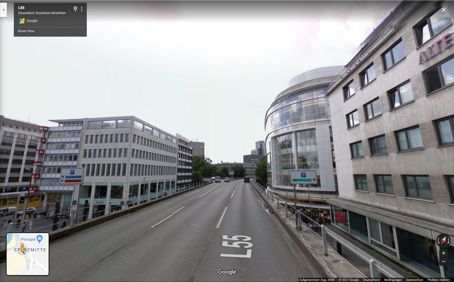 Google Streetview 2008: Eine Fahrt über den Tausendfüssler