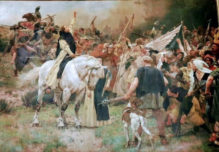 Walter Dodde im Mittelpunkt des Gemäldes von Peter Janssen, das im Düsseldorfer Rathaus hängt