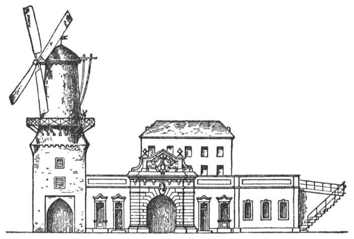 Bauzeichnung: Das Ratinger Tor ab dem 17. Jahrhundert samt Windmühle (Abb. via Wikimedia)