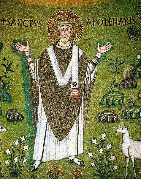 St. Apollinaris auf einem Mosaik aus dem 6. Jahrhundert (public domain)