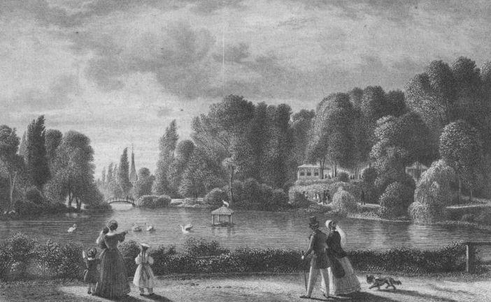 Die Landskrone mit dem Ananas-Lokal rechts hinten auf einem Stich von W. J. Cooke von 1850