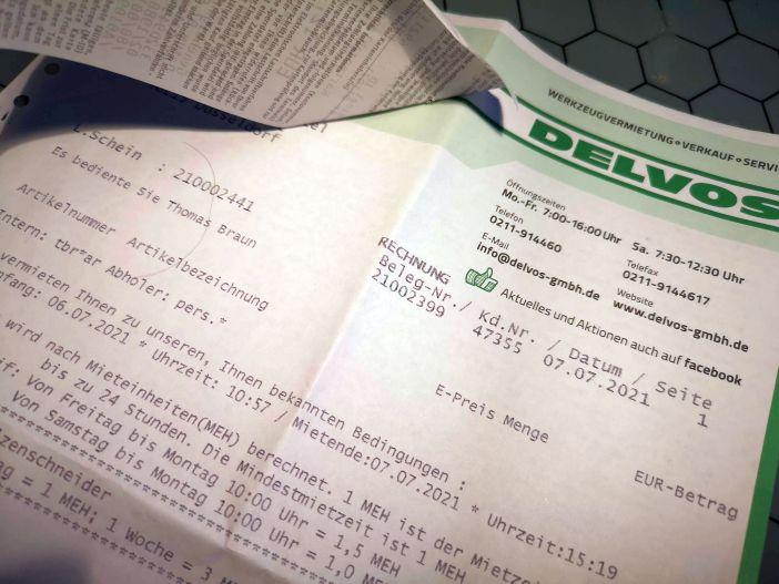 Herrlich altmodisch, eine Original-Delvos-Rechnung (Foto: TD)