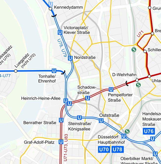 Auf diesem Netzplan der Stadtbahn sind auch die Strecken laut der Pläne von 1962 zu sehen (hellgrau markiert)
