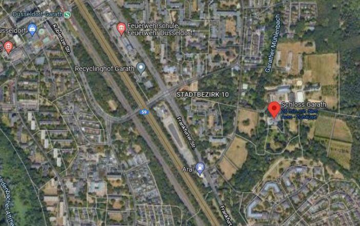 Google-Map: Das Schloss Garath, sein Park und die Umgebung