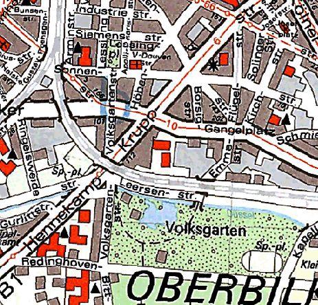So verlief die Volksgartenstraße 1966 (Screenshot maps.duesseldorf.de)