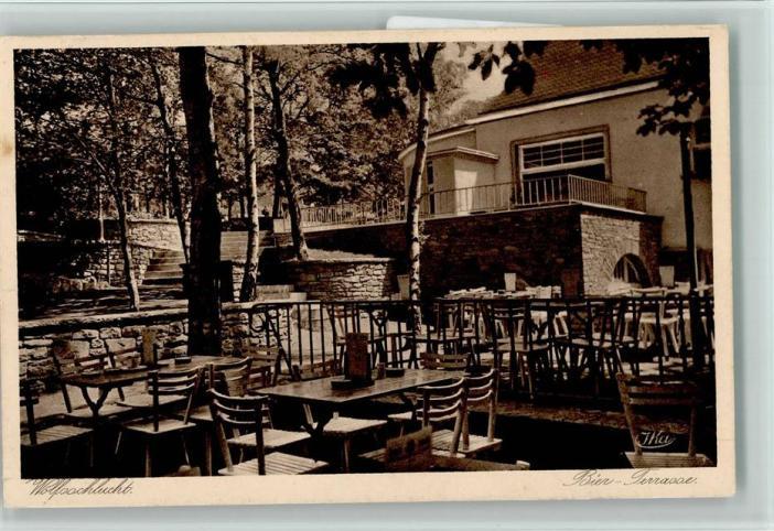 Der Garten der Wolfsschlucht auf einer Ansichtskarte aus den 50er-Jahren