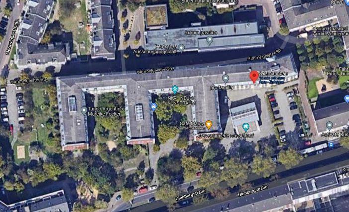 Google-Map: Der Salzmannbau zwischen der Uhlenberg- und der Himmelgeister Straße