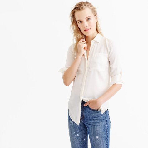 White Silk Button-Down Blouse