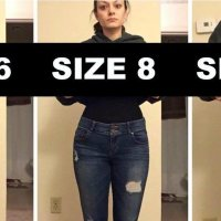 Woman Poses In Varying Pants Sizes To Make A Point About Body Image