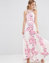 ASOS Cross Over Floral Pleated Maxi Dress