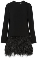 Elizabeth and James - Serena Feather-trimmed Cady Mini Dress - Black