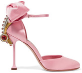 Miu Miu - Embellished Satin Pumps - Baby pink