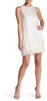 Crew Neck Sleeveless Embellished Feathered Dress