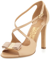 Gabrielle Bow Leather Sandal, New Bisque