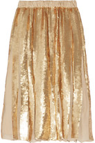 Tibi - éclair Pleated Sequined Silk-georgette Skirt - Gold