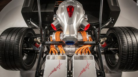 """The sleek chassis is complemented by a patent-protected <a href=""""http://www.techrules-news.com"""" target=""""_blank"""">""""TREV system"""" </a>-- a hybrid powertrain technology with a built-in turbine generator -- which will create electricity in addition to the power stored in the batteries, the company says."""