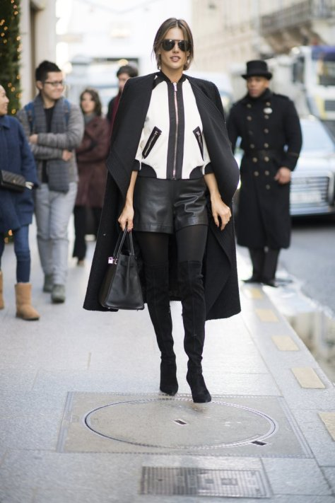 Alessandra Ambrosio looked polished and camera ready in leather during an outing in Paris.