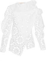 A.W.A.K.E. Rustic asymmetric broderie-anglaise cotton blouse