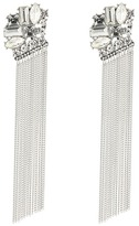 Stone Cluster Top with Chain Fringe Linear Earrings