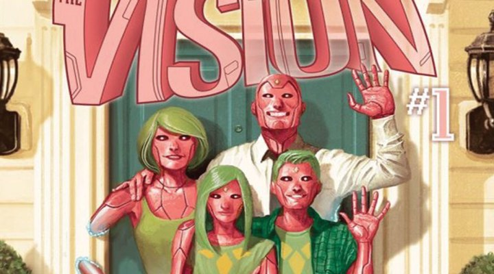 The Vision Family (Virginia, Viv, Vision and Vin), from Marvel's Earth-616.