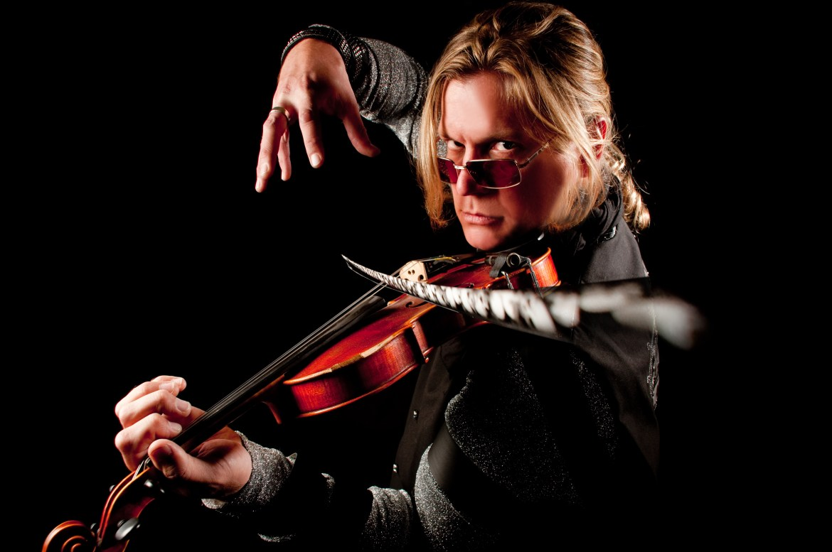 Alex DePue playing violin without touching the bow (magic).