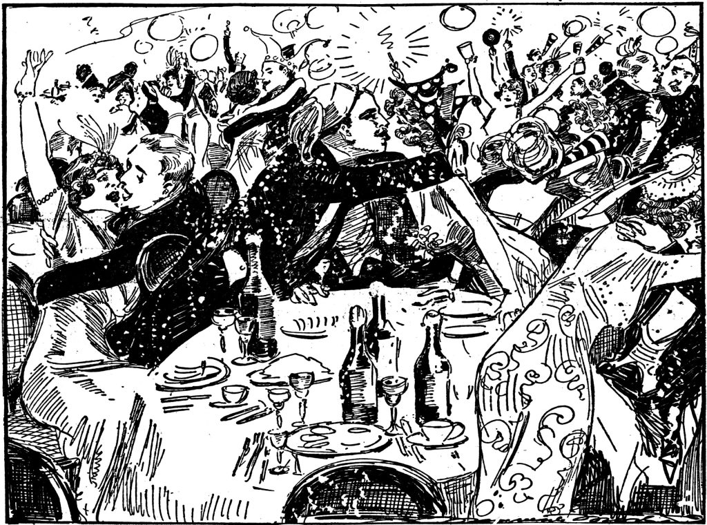 One of the first ever New Year's eve celebrations sketched out by reporter and artist Marguerite Martyn. One of first-ever new year's eve.