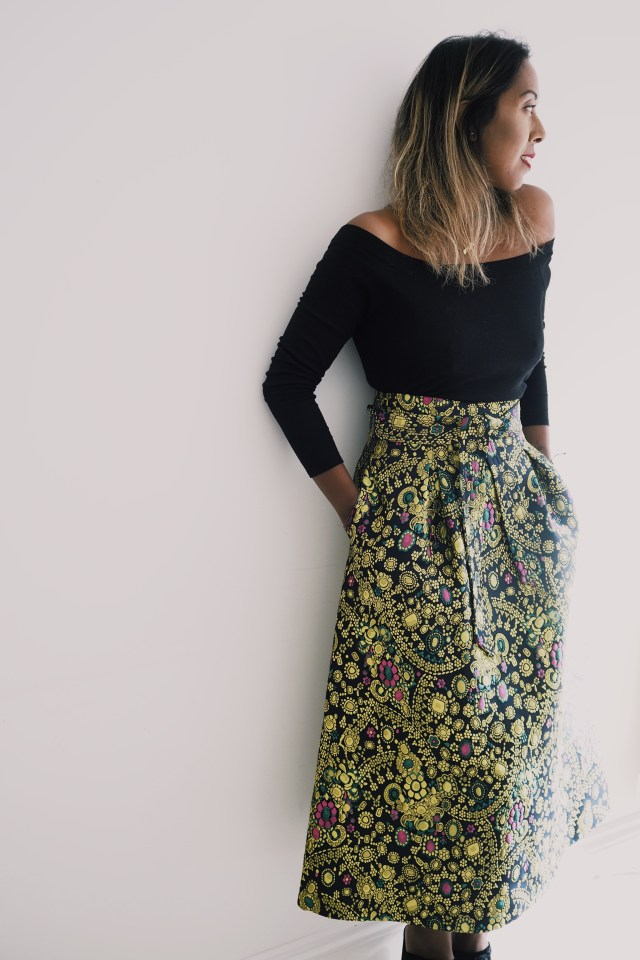 M&S High Waist Printed Midi Skirt