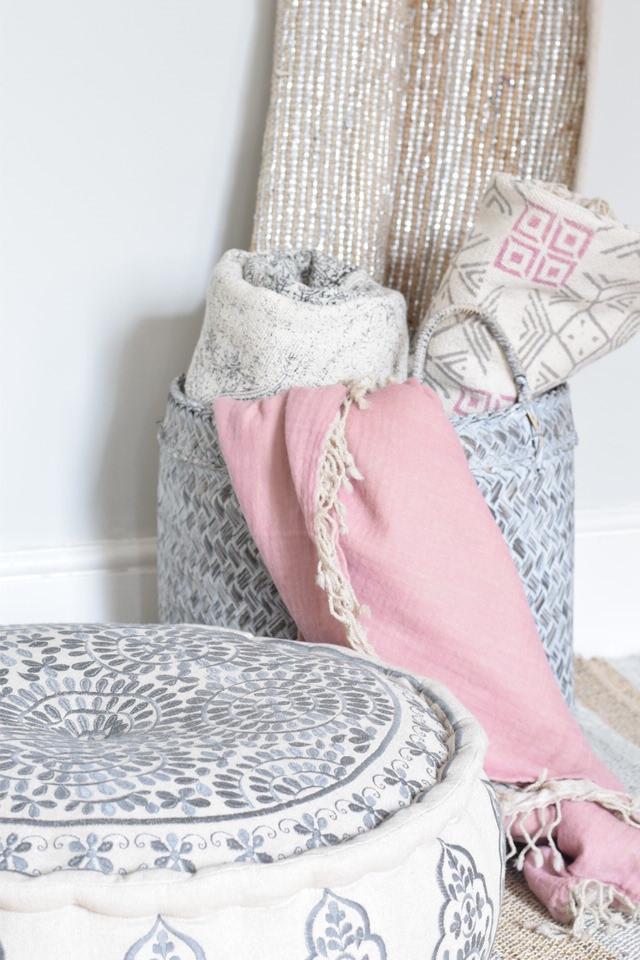 Dilli Grey Linen Pouffe Artisan