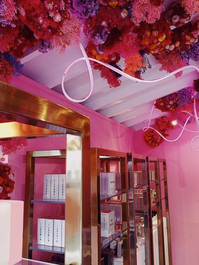 8d8dfad8ae4 Loved the floral ceiling and neon lighting at the Miller Harris perfumerie.