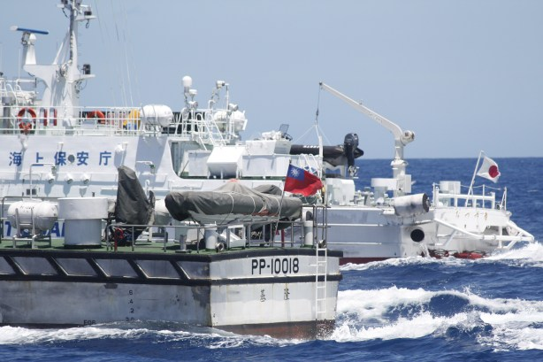 Vessels of the Taiwan Coast Guard Administration and Japan Coast Guard during a confrontation between the two on July 4,  2012.